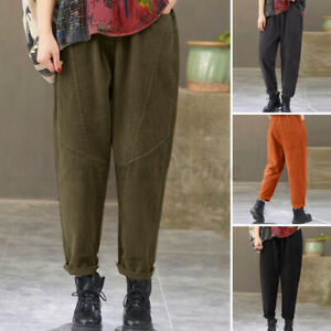 UK Women Elastic High Waist Wide Leg Pants Casual Loose Corduroy Harem Trousers