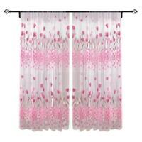 2x1m Tulip Printed Tulle Voile Door Window Curtain Sheer Drape Panel Home Decor