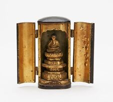 More details for antique japanese zushi with carved buddha figure 19th c.
