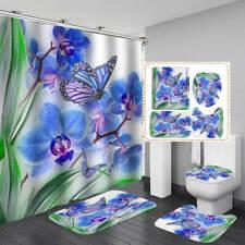 Blue Flower Butterfly Shower Curtain BathMat Toilet Cover Rug Bathroom Decor
