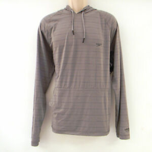 Used Speedo Men's Long Raglan Sleeve Hooded Swim Shirt Size M Monument/Gray
