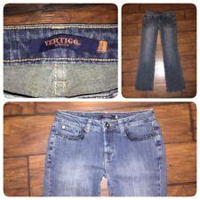 Vertigo Paris jeans size 8 medium wash denim beaded pockets boot cut stretch