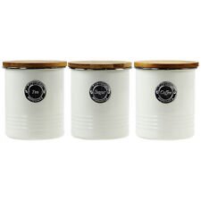 Typhoon Set of 3 Cream 1 Litre Living Sugar Tea Coffee Canisters Kitchen Storage