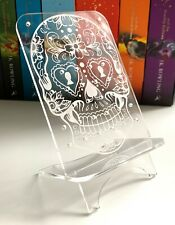 Earring Holder with Engraved Sugar Skull - Display Stand 48 Holes - Made In Aus