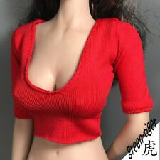 1:6 Scale ace Female figure parts - Red Pink Deep V Cleavage Sexy Babe  Shirt