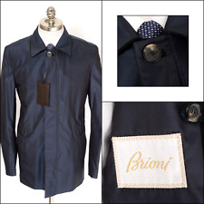 New BRIONI Navy Storm System Silk Wool Leather 4Btn Zip Coat Jacket 50 M L NWT!