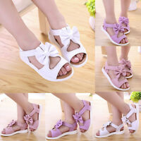 Lovely Kids Child Toddler Baby Girls Beach Sandals Bow Leather Princess Shoes