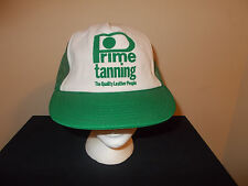 VTG-1980s Green Prime Leather Tanning Company mesh farmer snapback hat