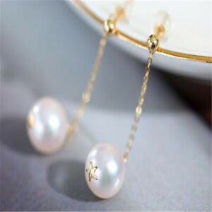 Fashion 12MM Shell pearl Earrings Dangle 18KGP Chain Ms gift New Year Cultured