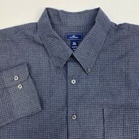 Dockers Button Up Shirt Mens XXL Blue Check Long Sleeve Casual