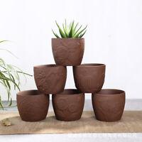 Ceramic Succulent Flower Pot Purple Sand Bonsai Classical Planter Garden Decor