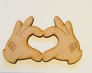 Mdf Mickey Mouse Hands Love Size 100mm x 70mm Craft Blank Wooden 3mm