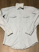Vintage Woolrich Men's Size Medium Denim Chambray Blue Pearl Snap Western Shirt