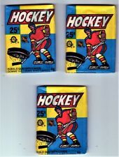 1983-84 O-Pee-Chee Lot of 3 Wax Packs Showing 1 Gretzky Fresh From Box- NM-MT