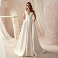 UK White ivory Bridal Satin V Neck Sleeveless A Line Wedding Dresses Size 6-18