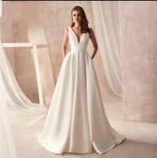 UK White ivory Satin Pockets V Neck Sleeveless A Line Wedding Dresses Size 6-18
