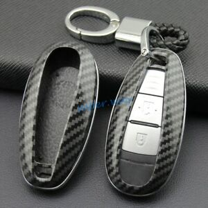 Carbon Fiber Car Smart Key Fobs Ring Chain Cases Covers For Suzuki SX4 S-Cross