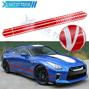 2x 86-inch Car Red Side Fender Skirt Graphics Stripes Sticker For Nissan 2000-up
