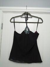 Clothes Line London Purple Chiffon Halterneck Top With Sequin Detail UK 12 BNWT