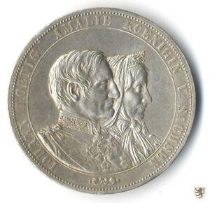 SACHSEN, Doppeltaler, 1872, Goldene Hochzeit Johann und Amalie, AKS 160, vorzügl