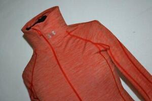 22469-a Womens Under Armour Gym Shirt Zip Workout Size Medium Fitted Orange