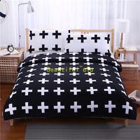 Black Cross Single/Double/Queen/King Quilt/Doona/Duvet Cover Set Pillow Case