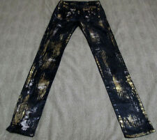 """ROCK & REPUBLIC STRETCH BLACK SILVER AND GOLD JEANS SIZE 25 33 1/2"""" INSEAM NICE"""