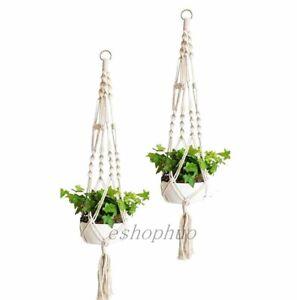 2Pcs Garden Plant Hanger Macrame Hanging Plant Basket Hook Rope Pot Holder US
