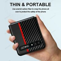 For Samsung Galaxy Z Flip 5G Luxury Shockproof Carbon Fiber Leather Case Cover