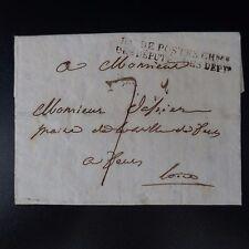 1819 LETTRE COVER MARQUE POSTALE BAU DE POSTES CHBRE DES DÉPUTÉS DES DEPTS