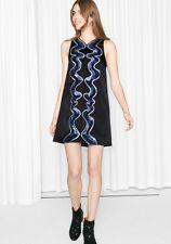 Gorgeous & Other Stories Black Swirl Of Sequins Sleeveless Dress, Size 38 UK 12
