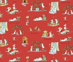 Clothworks Christmas Mice Mouse fabric Just What I wanted 100% Cotton Red