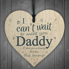 Daddy To Be Can't Wait Wooden Heart Dad Father Funny Card Love You Baby Gifts