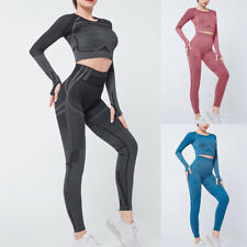 Women Seamless Yoga Suit Long Sleeve Top Leggings Workout Clothes Sports Wear