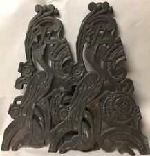 Pair of Vtg Art Deco Madness Figural Bird Crane Eating Snake Architectural Grate