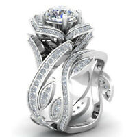 Fashion Women Lotus Flower White Topaz Ring Set 925 Silver Gold Wedding Jewelry
