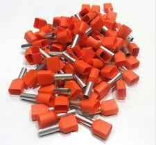 Embouts de cablage double 2x 4 mm² orange le lot de  25 pièces