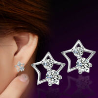 925 Sterling Silver Crystal Star Stud Earrings For Women Jewelry