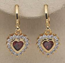 18K Gold Filled - Earrings Flower Heart Jewelry Ear Stud Ruby Zircon Topaz Gift