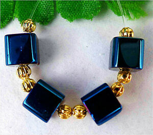 4Pcs 6x6x6mm Blue Titanium Crystal Heigth Hole Cube Bead BT91235