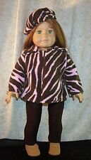 "Doll Clothes Made 2 Fit American Girl 18"" Fleece Jacket Leggings Beret' 3pcs"