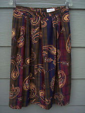 Saddlebred Skirt Sz 14 Pleated Front Aline Paisley Striped Blue Red Green