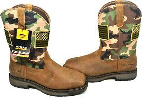 Ariat Men's 11.5 EE Workhog Patriot Steel Toe Earth Camo Work Boots 10024781