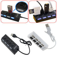 4/7port USB 2.0 HUB With Power On/Off Switch High Speed Adapter Splitter For PC