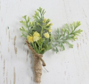 Rustic Natural Artificial Boutonniere Burlap Yellow Wedding Flower Baby Breath