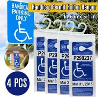 4 Pack Handicap Parking Permit Holder Placard Protector Hanger Sleeve Card Hang