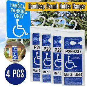 4 Pack Handicap Parking Permit Holder Placard Protector Hanger Sleeve Card Hang