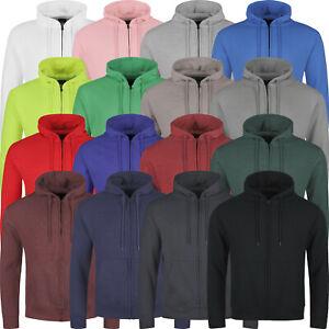 New Mens Hoodies Zip Up Hooded Fleece Zipper Top Jacket Plain Coat Warm Jumper