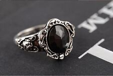 Black Crystal Anillo Vintage para mujer Retro Goth Nuevo Rhinestone Ladies Girls Emo