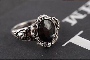 Black Crystal Ring Vintage Womens Retro Goth New Rhinestone Ladies Girls Emo